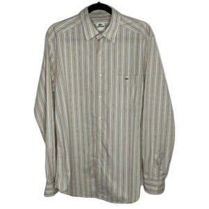 Lacoste Oxford Shirt Gray Red White Striped Long L